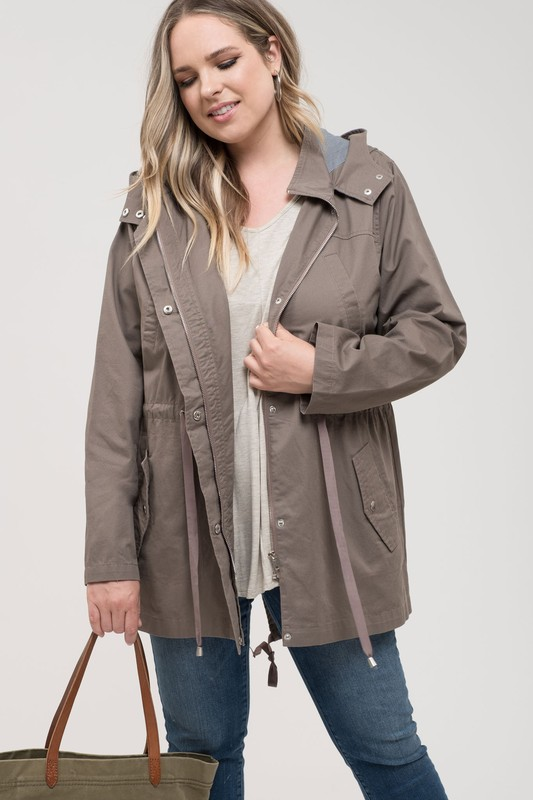 Plus Size Utility Jacket With Adjustable Waist - Mocha