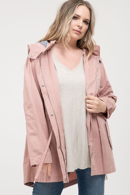 Plus Size Utility Jacket With Adjustable Waist - Dusty Pink