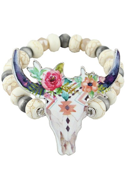 Floral Steer Skull Bracelet - More Colors