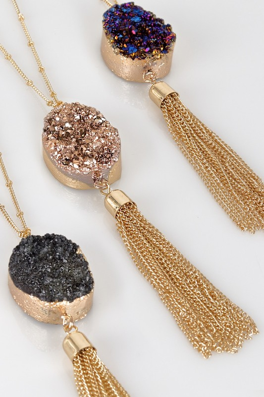Druzy Pendant Necklace - More Colors