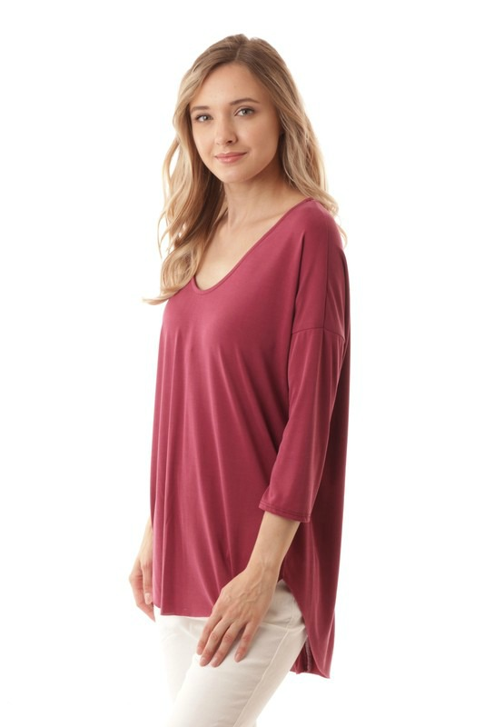 Plus Size Lt. Burgundy Zipper Back Top