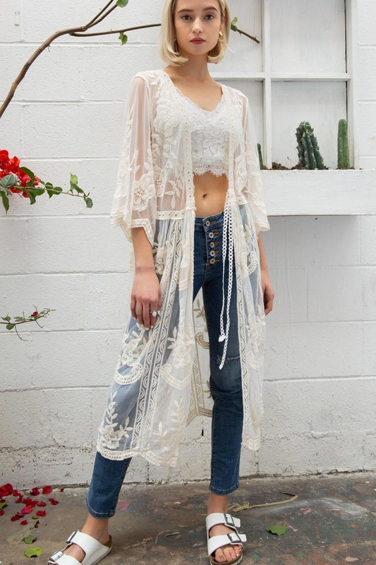Floral Embroidered Lace Kimono Duster
