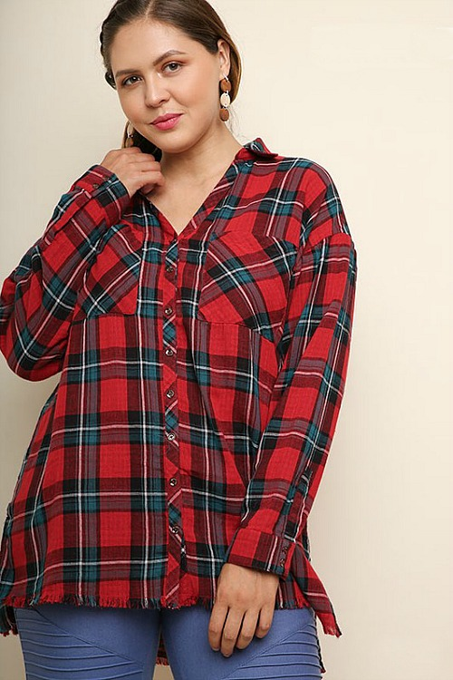Plus Size Farmer's Daughter Plaid Top - Red