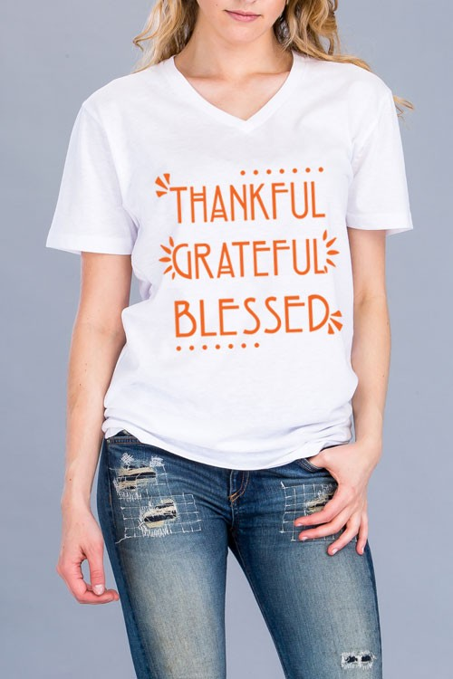 Plus Size Grateful Thankful Blessed V Neck Tee