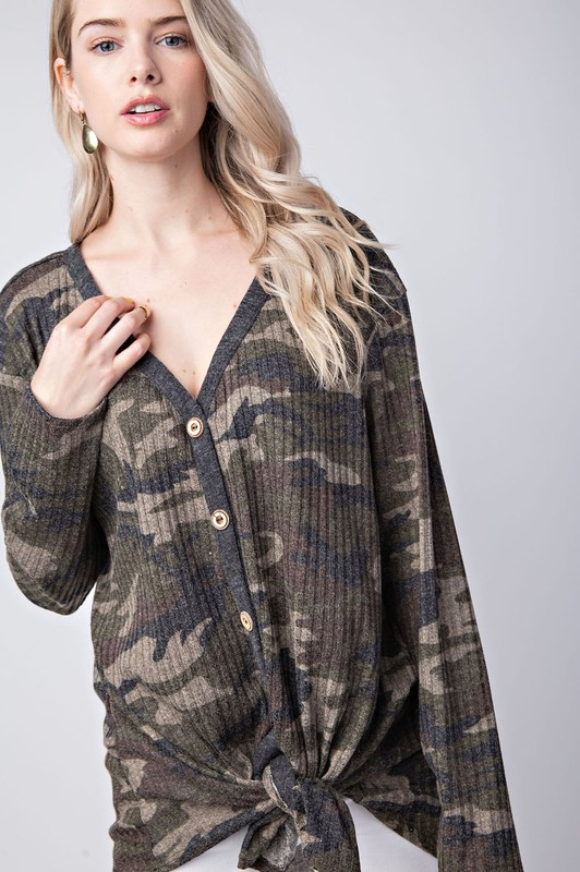 Stay This Way Camo Tie Top