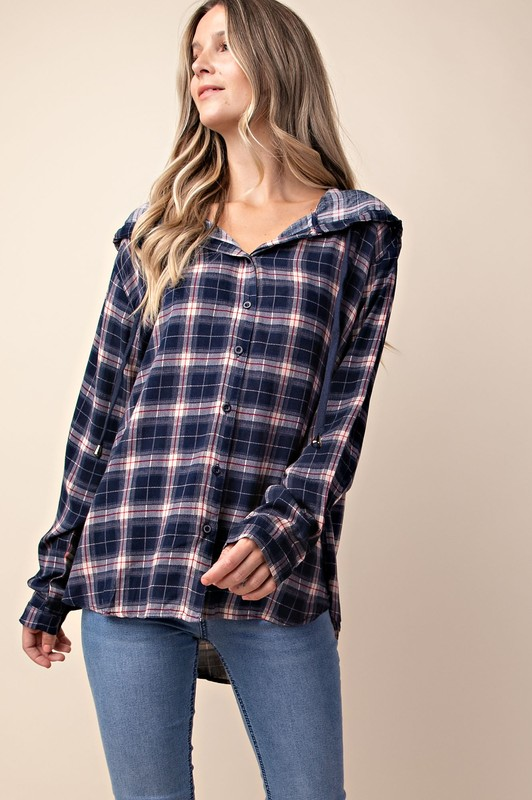 Navy Plaid Button Down Hoodie