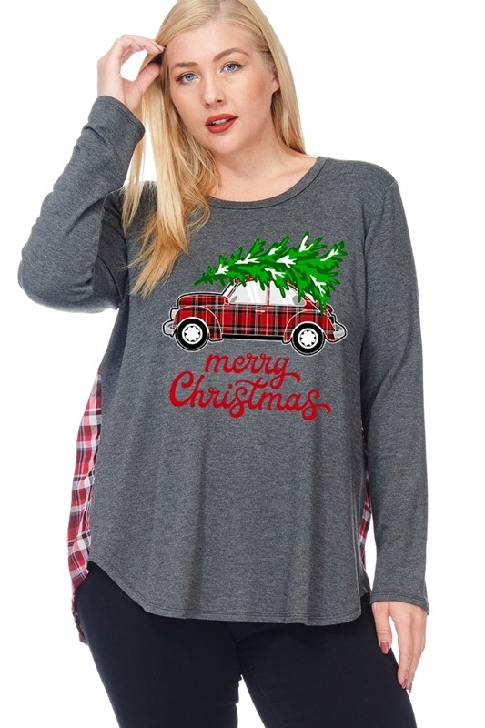 Plus Size Merry Christmas Plaid Car and Tree Graphic Top