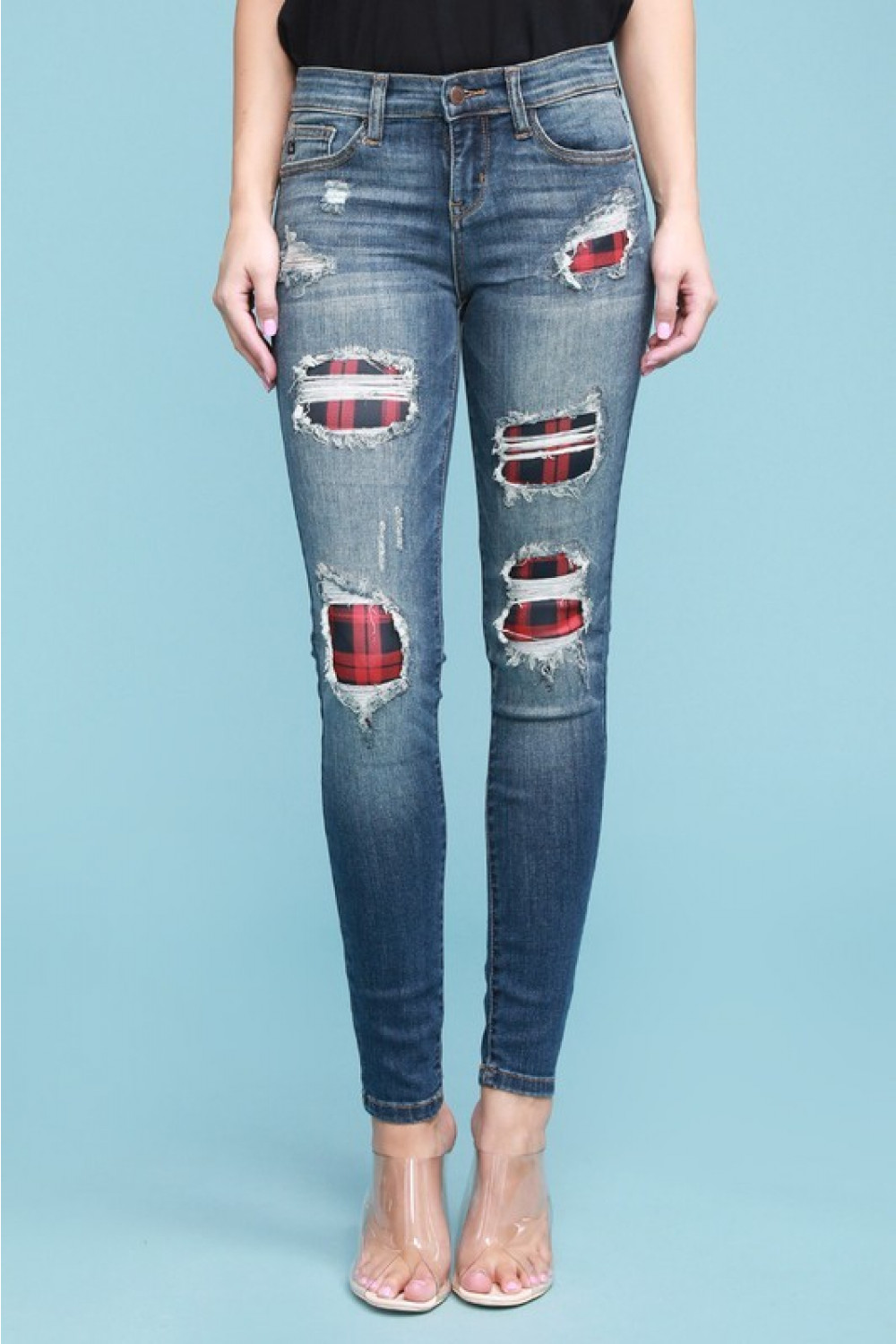 Judy Blue Buffalo Plaid Patch Distressed Skinny Jeans