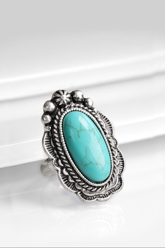 Boho Oval Natural Stone Ring