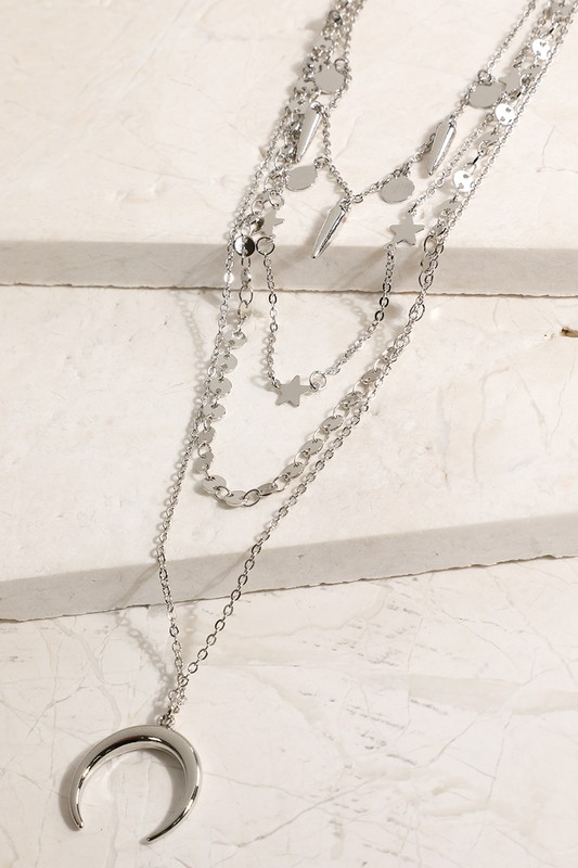 Layered Crescent Pendant Necklace - Silver