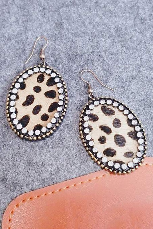 Leopard Print Oval Earrings