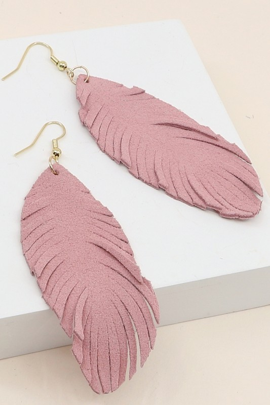 Leather Leaf Earrings - Dusty Pink
