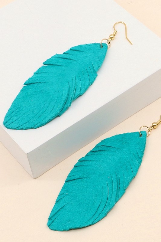 Leather Leaf Earrings - Turquoise