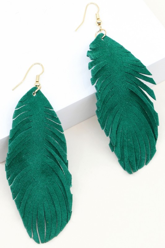 Leather Leaf Earrings - Emerald Green