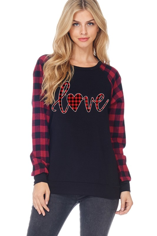 For The Love of Plaid Valentine's Top