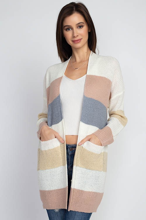 Dreamers Open Striped Cardigan