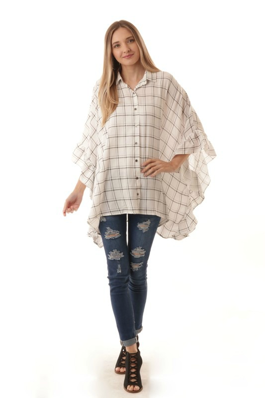 Boxy Flannel Top With Ruffles
