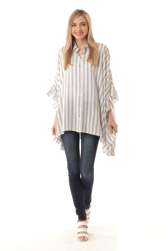 Boxy Striped Top With Ruffles