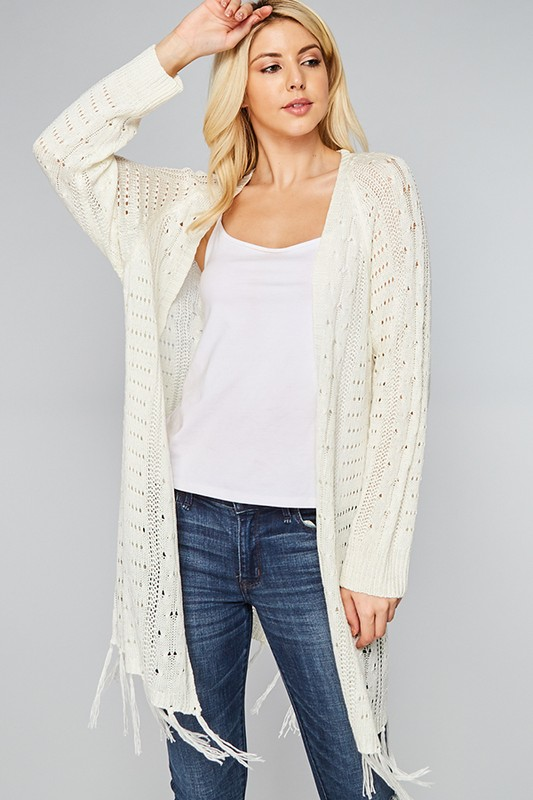 Fringe Sweater Cardigan - Cream