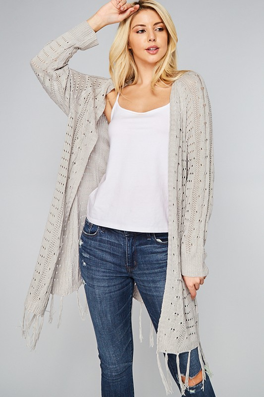 Fringe Sweater Cardigan - Heather Grey