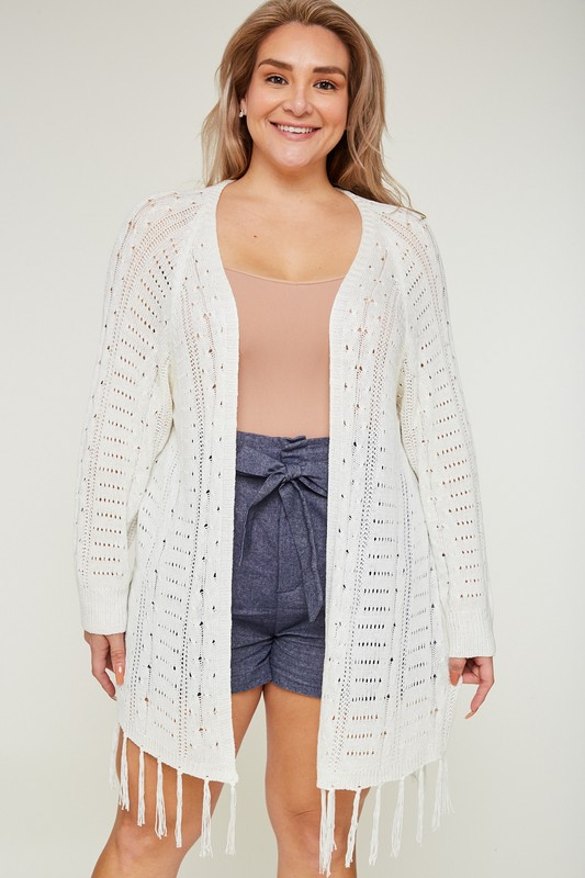 Plus Size Fringe Sweater Cardigan - Cream