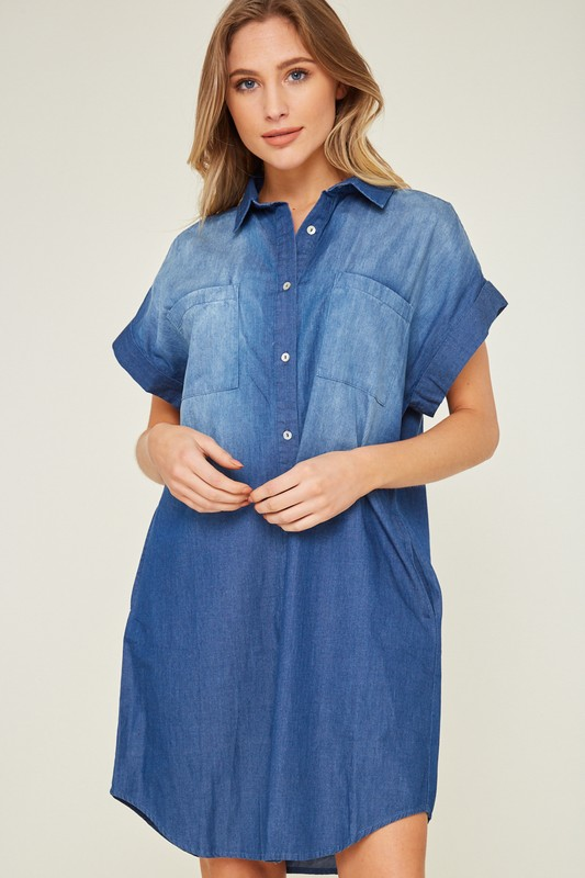 Dip Dyed Dark Blue Denim Shirt Dress