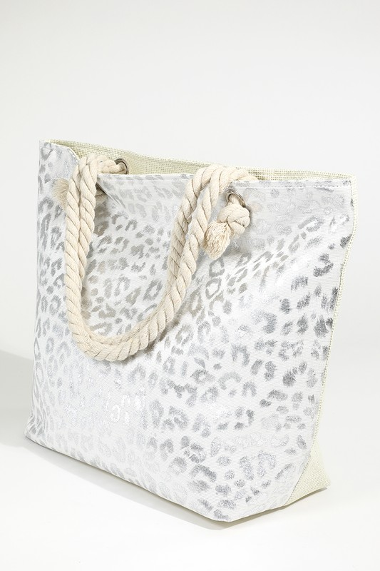 Metallic Leopard Print Bag - Silver