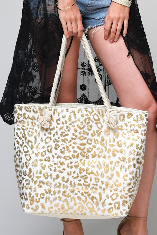 Metallic Leopard Print Bag - Gold