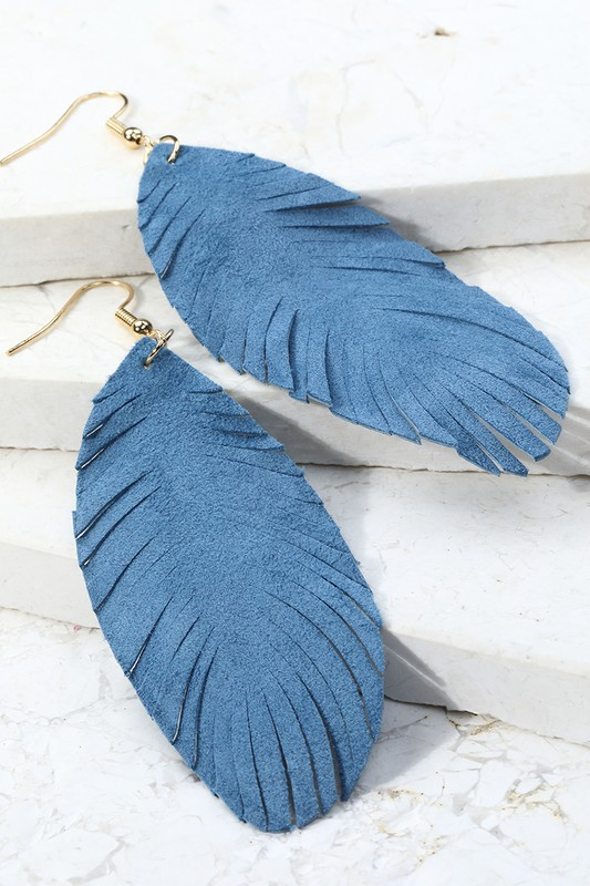 Leather Leaf Dangle Earrings - Denim