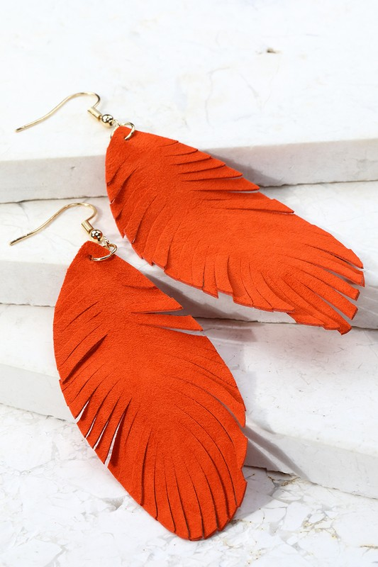 Leather Leaf Dangle Earrings - Rust