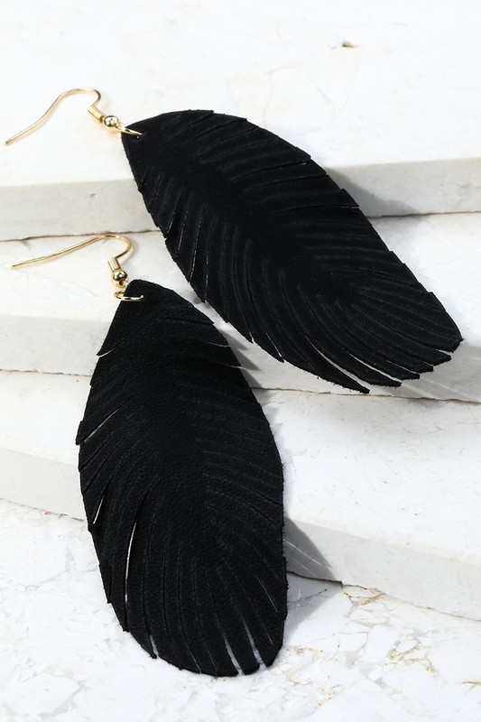 Leather Leaf Dangle Earrings - Black