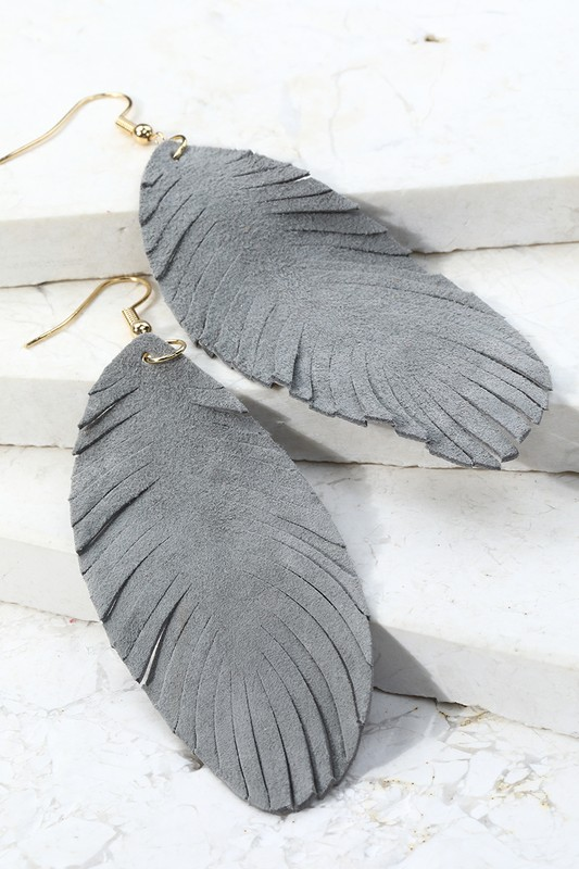 Leather Leaf Dangle Earrings - Grey
