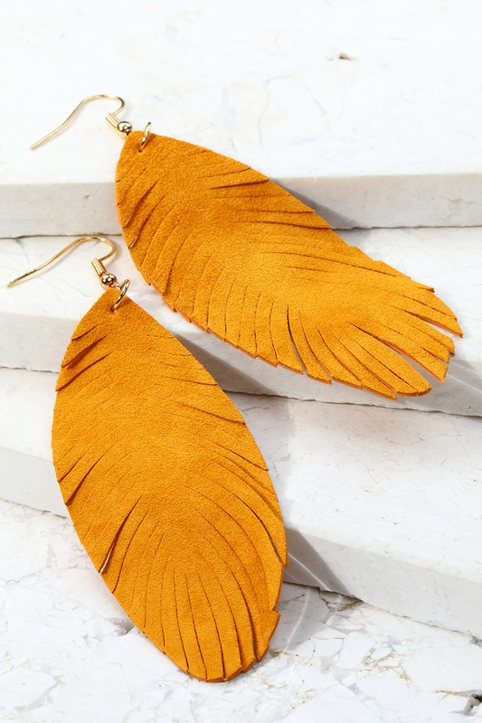 Leather Leaf Dangle Earrings - Camel