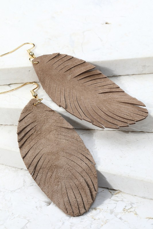 Leather Leaf Dangle Earrings - Khaki