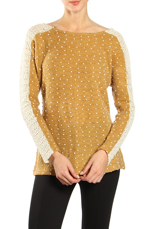 Criss Cross Polka Dot Sweater - Camel