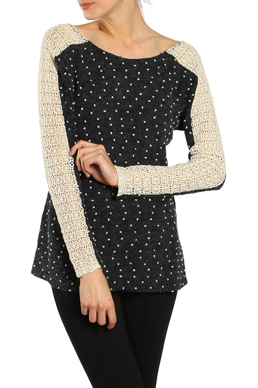 Criss Cross Polka Dot Sweater - Charcoal