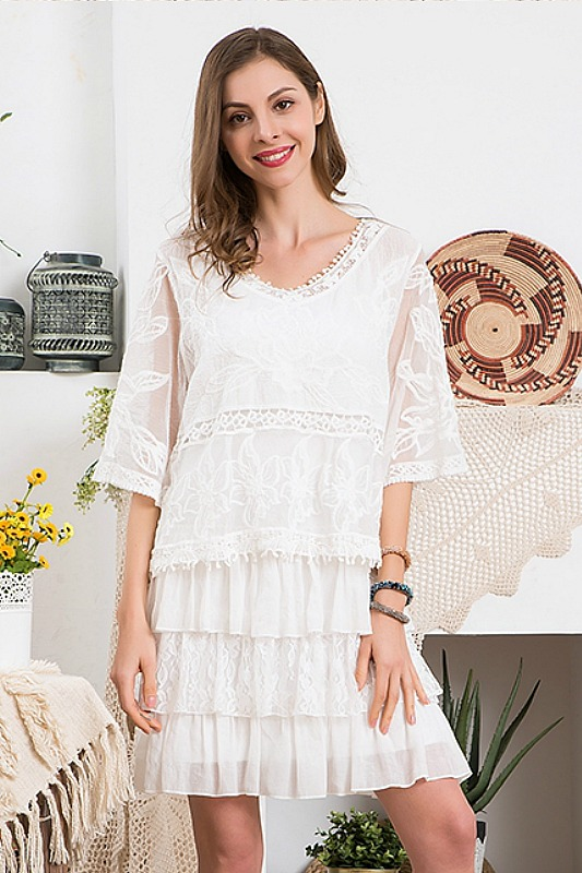 Paisley Vine White Lace Dress Set