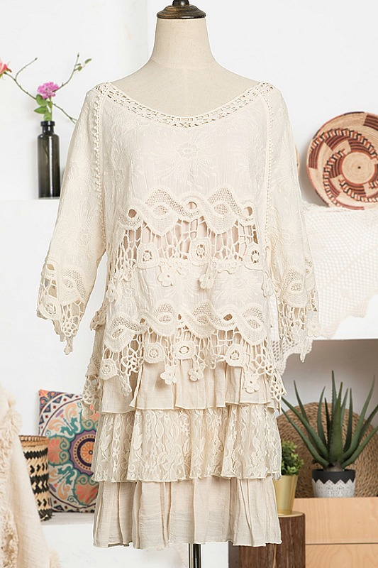 Paisley Vine Beige Lace Dress Set