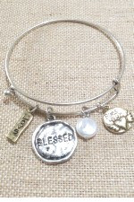 Wire Bangle Bracelet - Blessed