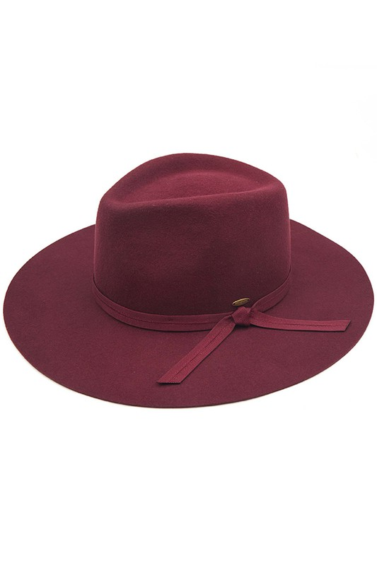 Wool Felt Panama Hat With Grosgrain Bow - Berry