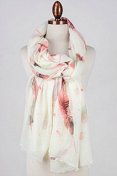Feather Print Scarf - Coral