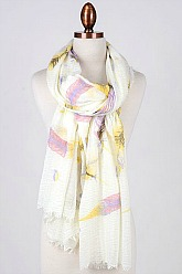 Feather Print Scarf - Yellow