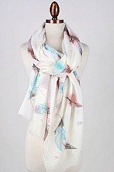 Feather Print Scarf - Mint