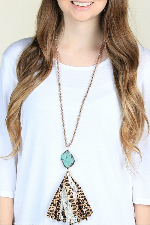 Country Girl Turquoise and Leopard Necklace