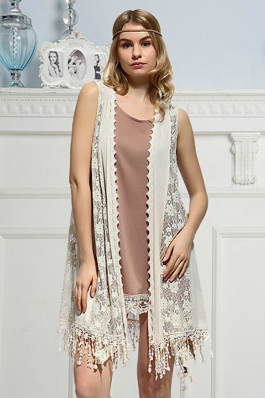 Dreaming in Denmark Peach Lace Vest