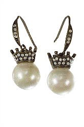 Vintage Crown and Pearl Earrings