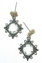 Vintage Vibe Crystal Earrings - Gold