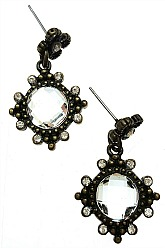 Vintage Vibe Crystal Earrings - Bronze
