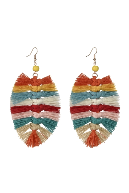 Boho Macrame Multi Color Leaf Earrings