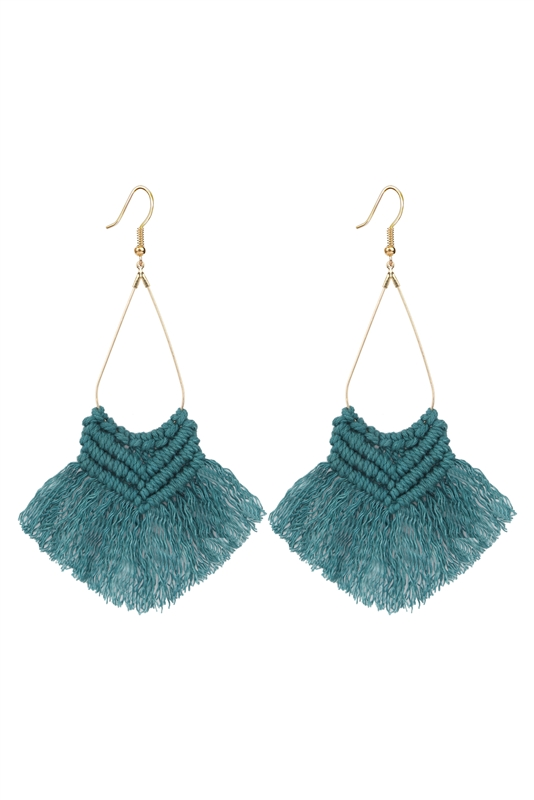 Boho Fringe Macrame Earrings - More Colors Available